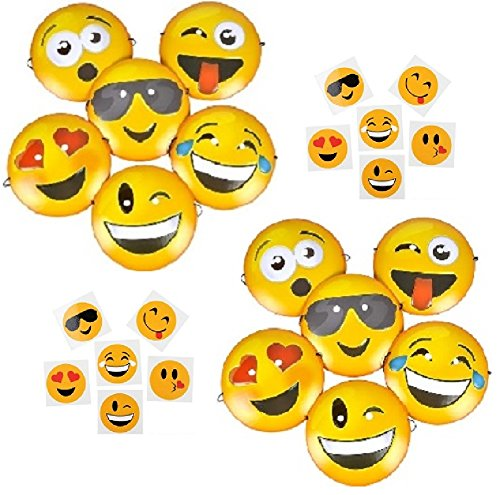 Novelty Treasures Emoji Party Pack - 12 Emoji Masks and 144 Emoji Temporary Tattoos - Birthday Party Supplies / Halloween Costume -