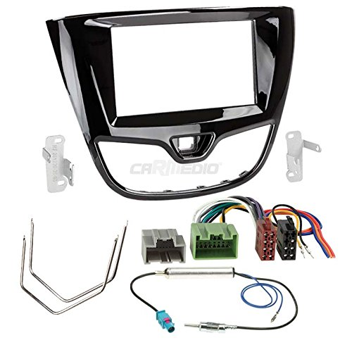 Carmedio Opel Karl ab 15 2-DIN Autoradio Einbauset in original Plug/&Play Qualit/ät mit Antennenadapter Radioanschlusskabel Zubeh/ör und Radioblende Einbaurahmen Hochglanz-schwarz