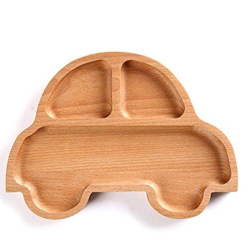 Wispun Wooden cartoon tray - Natural Beech Wood Plate Dinner Dishes for Children Kids Toddler (Cartoon car) by Wispun (Image #2)
