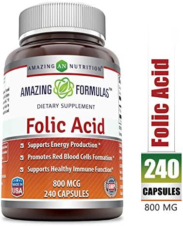 Amazing Formulas Folic Acid - 800 mcg - 240 Capsules - Provides Energy Support - Supports Red Blood Cell Production - Bolsters The Immune System *
