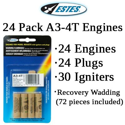 Estes A3-4T Model Rocket Engines (24 pack)