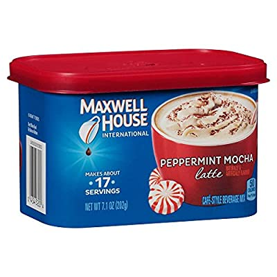 Maxwell House International Café Flavored Instant Coffee, Peppermint Mocha Latte, 7.1 Ounce Canister (Pack of 4) by Maxwell House