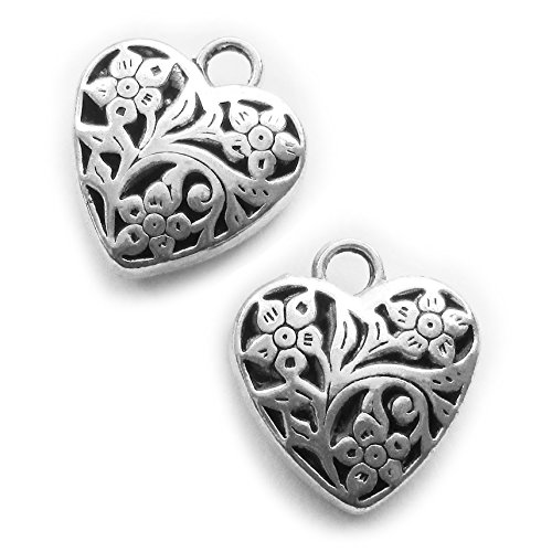 Heather's cf 10 Pieces Silver Tone Hollow Heart Beads DIY Charms Pendants 23X20X9mm