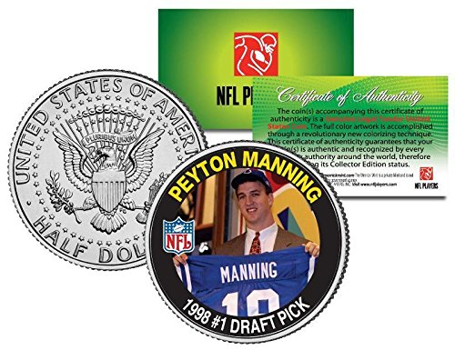 PEYTON MANNING COLTS ROOKIE 1998#1 DRAFT PICK JOHN F. KENNEDY HALF DOLLAR/COIN! W/H VERTICAL DISPLAY STAND! ()
