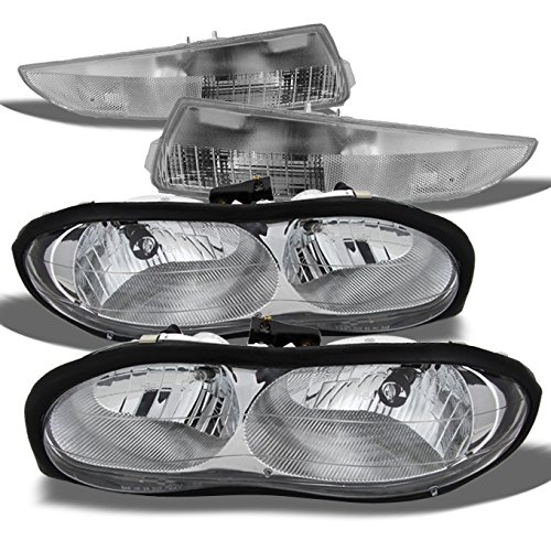 Camaro Headlights 2000 (For Chevy Camaro OE Replacement Chrome Headlights Driver/Passenger Bumper Signal Lamps Pair Combo)
