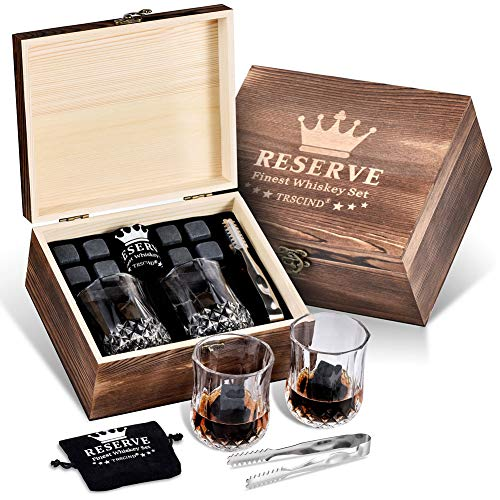 Gifts For Men Dad Husband, Whiskey Stones Gift Set, Unique Personalized Birthday Gifts Ideas for Him Father Boyfriend Anniversary Retirement, Christmas Present, Scotch Bourbon Glasses (Christmas For Gift Him)