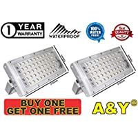A & Y 50W Ultra Thin Slim IP65 LED Flood Outdoor Cool Day Light White Waterproof (50 watt)(White) Buy ONE GET ONE Free