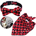 Malier Dog Bandana and Collar Set Pet Christmas Classic Plaid Snowflake Dog Scarf Triangle Bibs Kerchief Adjustable Collars with Bow Tie Pet Costume Accessories Decoration for Cats Dogs Pets from Malier