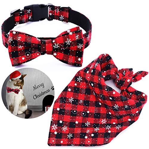 Malier Dog Bandana and Collar Set Pet Christmas Classic Plaid Snowflake Dog Scarf Triangle Bibs Kerchief Adjustable Collars with Bow Tie Pet Costume Accessories Decoration for Cats Dogs Pets (Small) ()