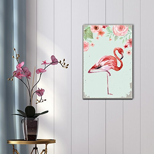 Watercolor Flamingo Standing on One Leg with Flowers