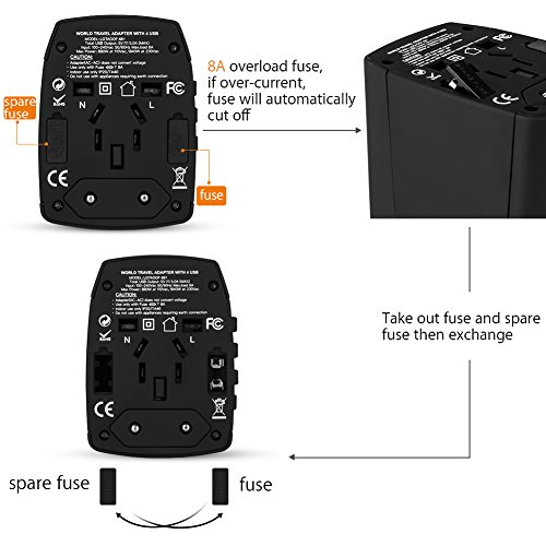 Amazon.com: Travel Adapter Worldwide All in One Universal Power Converters Plug Adapter with 4 Usb Smart Charging Port Totally 5.0V/5.0A, for Europe,UK,AUS ...