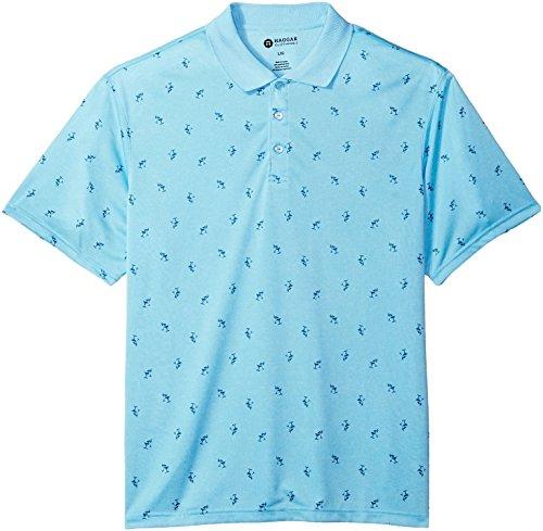Haggar Men's Short Sleeve Printed Knit Polo, Blue Martini, L