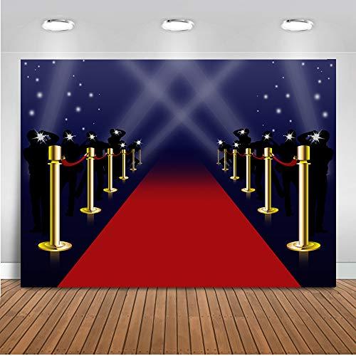 Mocsicka Red Carpet Backdrop 7x5ft Vinyl Hollywood Background Flash Background Golden Column Decoration Banner Photography Background Studio Props
