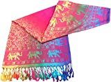 CJ Apparel Pink Elephant Design Shawl Scarf Wrap Stole Pashmina Seconds NEW