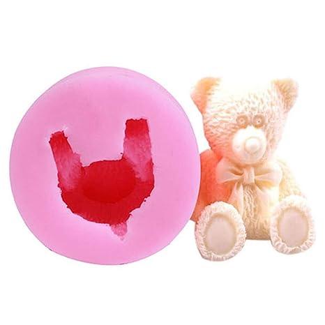 SEVENHOPE Color Rosa 3D Oso de Peluche Silicona Molde Fondant Decoración Mano Hechas Jabón Molde
