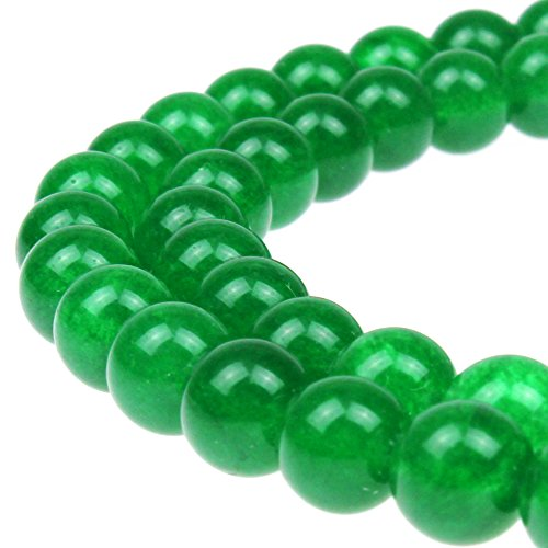 JARTC Stone Beads Green Jade Round Loose Beads for Jewelry Making DIY Bracelet Necklace (4mm)