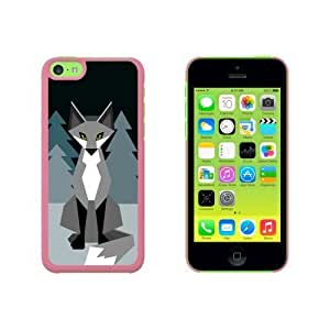 Geometric Winter Fox Snap On Hard Protective For Iphone 5C Phone Case Cover - Pink