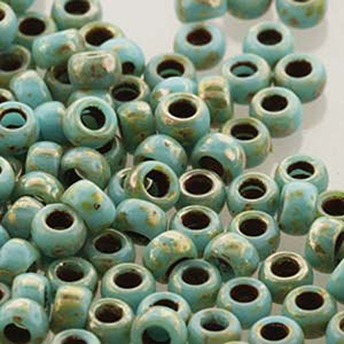 (Czech Glass Matubo, 8/0 Seed Bead, 8 Gram Tube, Turquoise Blue Picasso)