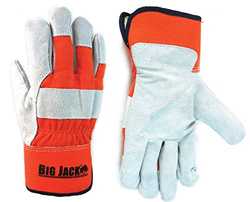 Big Jake Leather (Better Grip Premium Grade Safety Winter Insulatated Split Cowhide Leather Palm Work Gloves, Safety Cuff, For Cold Weather,, Orange/ Grey (extra large, 1 Pair))