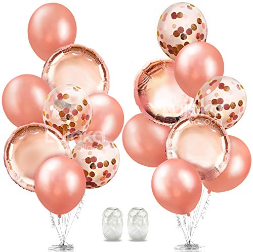 Rose Gold Balloons - Foil & Latex Premium Balloon Set with Confetti 16 Pcs - 18 & 12 inches, 3 Styles + 2 Ribbons - Ideal for Weddings, Birthdays, Bridal Shower, Engagement Party - by LujokaBalloons