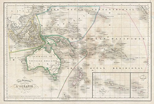 Historic Map | Delamarche Map of Australia and Polynesia, 1850 | Historical Antique Vintage Decor Poster Wall Art | 24in x 36in