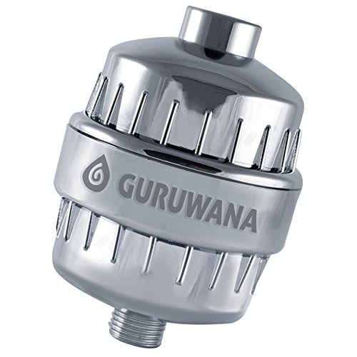 Rainshower Shower Filters (Guruwana Shower Filter - Universal chrome set with replacement cartridge - 10 stage plus Vitamin C layer - chlorine remover and cleaning water system - improves hair and skin health)