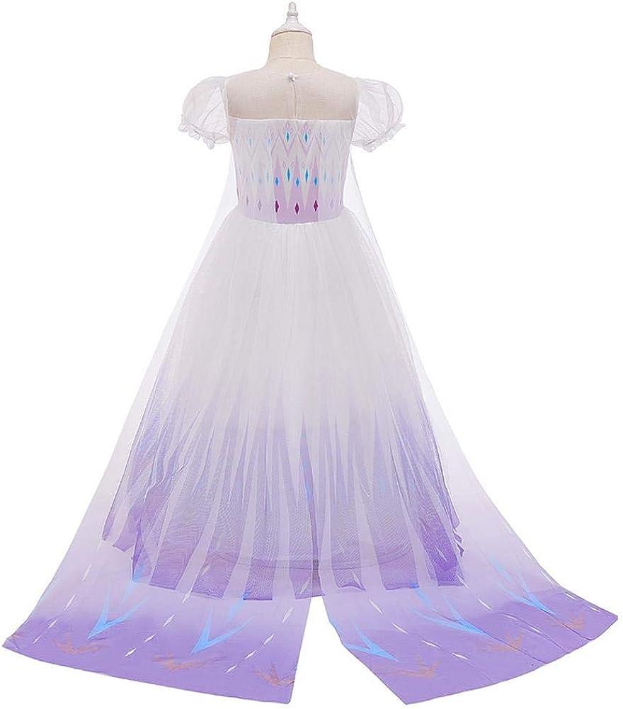 Frozen 2 Principessa Elsa Incoronazione Vestito Bambine Travestimento da Carnevale Vestire di Cosplay Halloween Costume Abito delle Ragazze Natale Fantasia Abiti Festa Compleanno Partito con Accessori