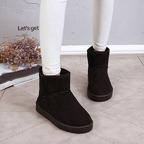 NSXZ Female flat waterproof non-slip padded winter snow boots warm boots , 120W