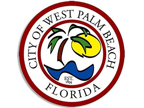 West Palm Florida - West Palm Beach Florida City Seal Sticker (decal logo fl ocean state usa)