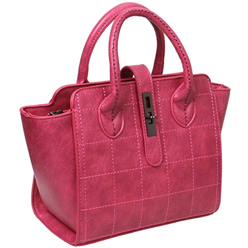 BMC Womens Lipstick Pink Stitched Checker Pattern Faux Leather Double Top Handle Satchel Style Fashion Handbag - Double Handle Handbag