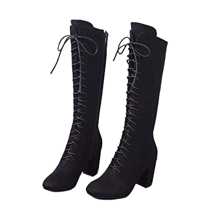 e231b5e63c2 Amazon.com  York Zhu Knee High Boots for Women - Square Toe Lace up High  Heel Tall Boots for Women  Sports   Outdoors