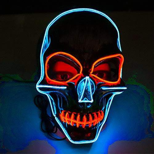 Halloween Scary Music LED Skull Mask - Cool Scariest Light Up Mask - Sound Reactive Full Face Mask Dance Rave Halloween Costumes Party Mask for Teen Boys Girls,Unisex Adults,Men Women (Multicolor)