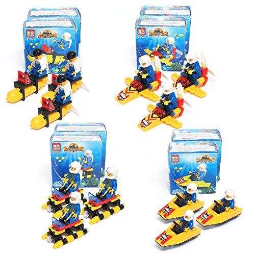 Blue Orchards Ocean Explorer Vehicle Brick Sets (12 Pack), Ocean Party Supplies, Building Block Sets, Over 400 Total Pieces!