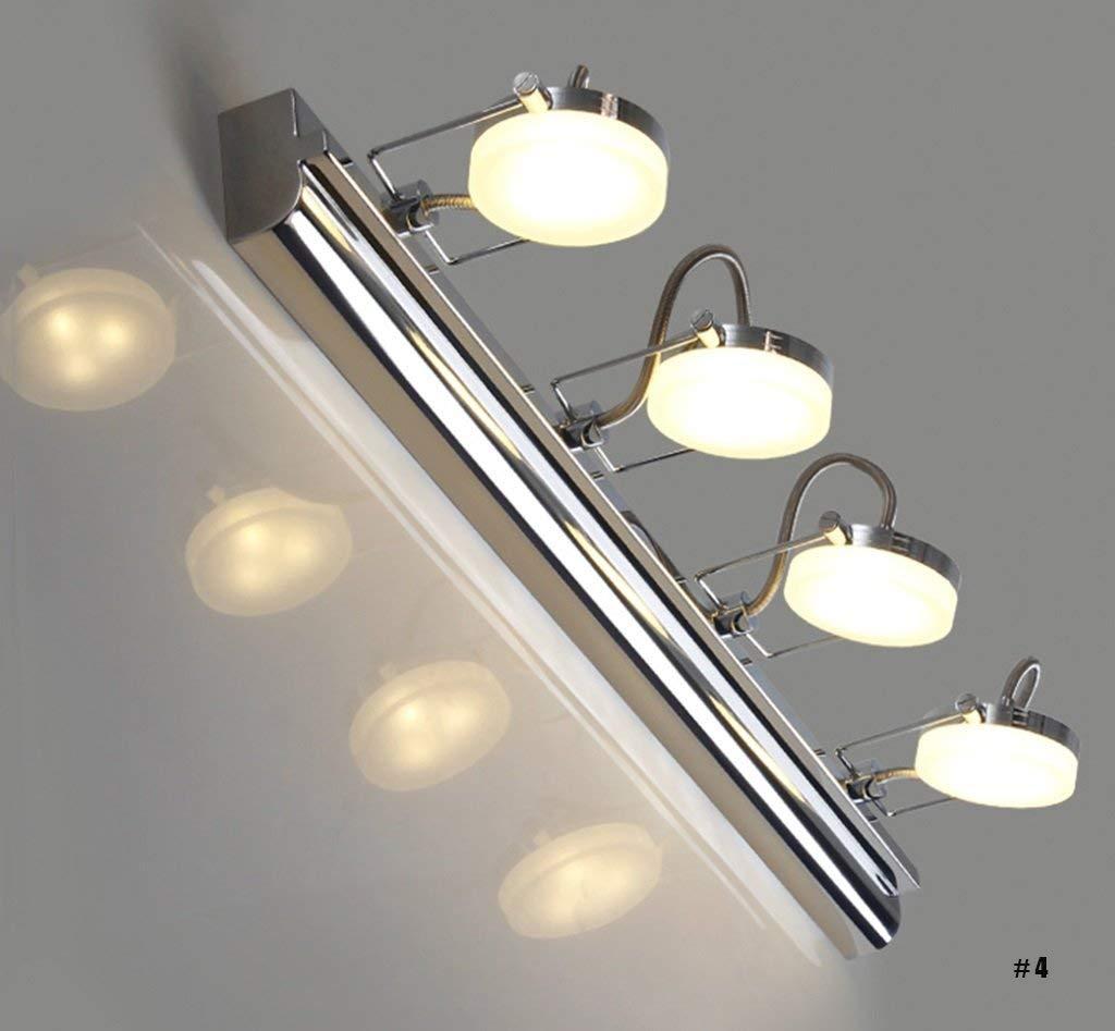 Chuiqingwang 防曇ファッション調節可能ミラーフロント照明現代のシンプルなクリエイティブLEDステンレス鋼とアクリル防湿暖かい浴室の壁ランプ (Color : 4 Head)  4 Head B07S9TY5NR