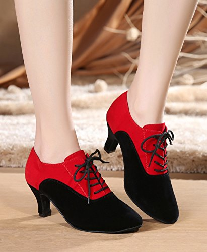 Tda 6cm Style Dance Simple Modern Evening Ballroom up Women's Shoes Lace Wedding Heel Latin Classic Red Black SrpUSwx