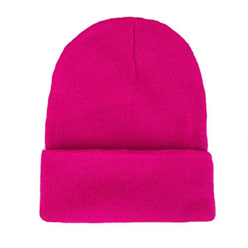 - CANCA Unisex Cuff Warm Winter Hat Knit Plain Skull Beanie Toboggan Knit Hat/Cap (Rose Red)