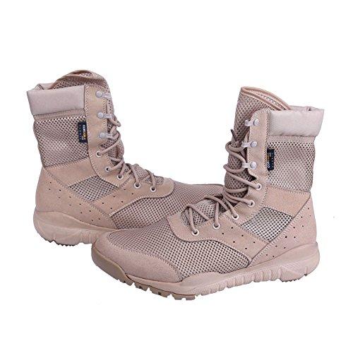 Hombres LD Botas de desierto, Botas de encaje ligero Botas militares de tactica para hombre al aire libre Bronzer Malla