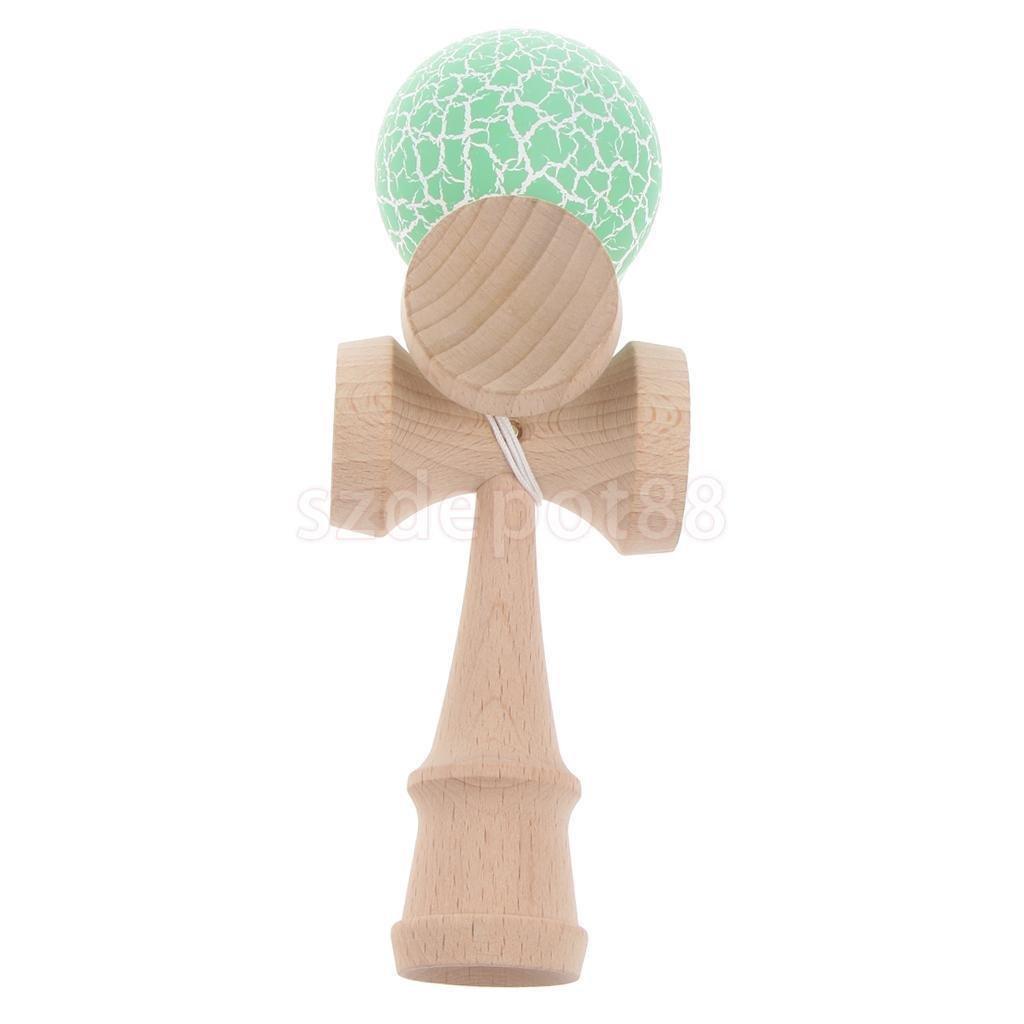 CrackleペイントKendamaスキル木製ボールおもちゃ子供用大人用クリスマスギフトグリーン&ホワイト   B0728BCY35