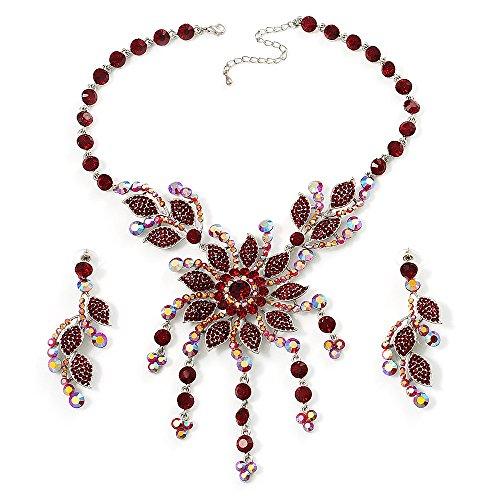 Ensemble boucles d'oreille et collier luxe floral cristal Swarovski couleur rouge rubis (ton argenté)