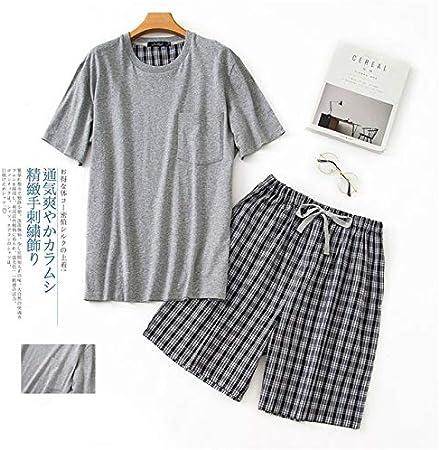 TUNBVG O Cuello de algodón para Hombre de Verano de Manga Corta Pantalones Cortos Conjunto de Pijamas de Gran tamaño a Cuadros Trajes de Dormir Ropa de Dormir Hombres Pijamas: Amazon.es: Hogar
