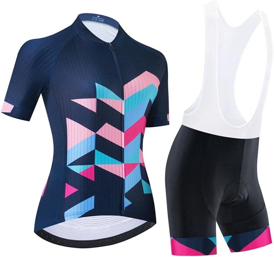 Hombre ciclismo bicicleta jersey conjunto de verano arriba + pantalones cortos de babero montar a caballo para montar a caballo, conjunto de ropa de secado rápido de manga corta jersey-Azul 1_SG