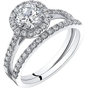 14K White Gold Halo Engagement Ring and Wedding Band Bridal Set Sizes 4-10
