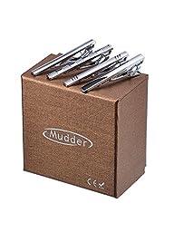 Mudder 4 Pack Stainless Steel Fashion Necktie Tie Clips Tie Bar Clips Set