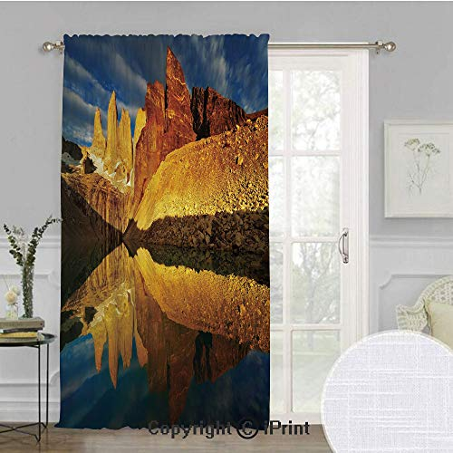 Sunrise Extra Wide Chiffon Sheer curtain,Exquisite Cliffs by Lake Torres Del Paine National Park Patagonia Decorative,for Large Window/Sliding Glass Door/Patio Door,100x84inch,Light Coffee Cinnamon Bl (Paine's Patio)