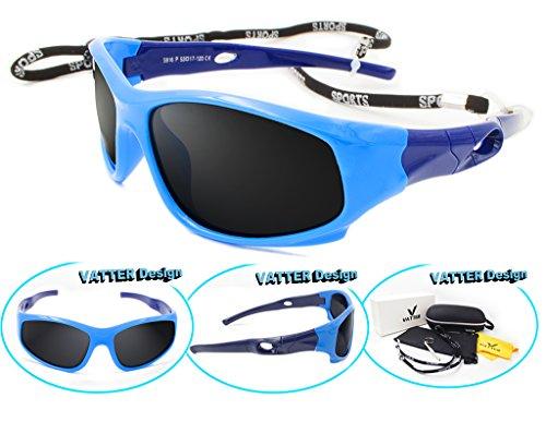 Price comparison product image VATTER TR90 Wayfarer Polarized Sport Sunglasses For Kids Boys Girls Chilrens 816blueblue