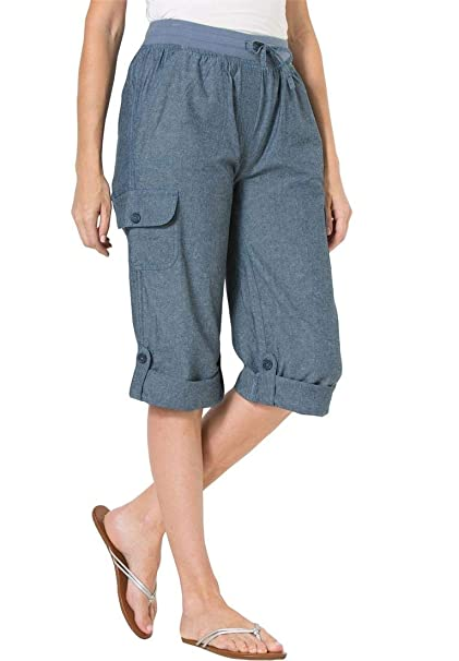 6f4499191bf38 Woman Within Plus Size Convertible-Length Cotton Cargo Capri Pants -  Chambray, 12 W at Amazon Women's Clothing store: