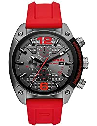 Men's Overflow Stainless Steel Quartz Watch with Silicone Strap, red, 21 (Model: DZ4481