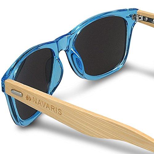 Bleu différentes en Lunettes UV400 couleurs Lunettes de En bois bambou en hommes Navaris étui femmes bois Branches soleil TxZaw
