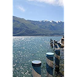 LAMINATED 24x36 Poster: Garda Lake View Summer Holiday Water Mountains Italy Landscape Bank Blue View Nature Atmospheric Idyllic Travel