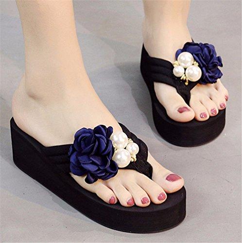 FLYRCX Clip de verano zapatos de moda de damas zapatos de tacón alto AL AIRE LIBRE PLAYA playa resbaladizo dulce flores frescas zapatillas. g